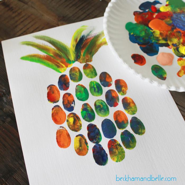 Bastelideen für Kleinkinder, Ananas mit Fingerabdrücken zeichnen