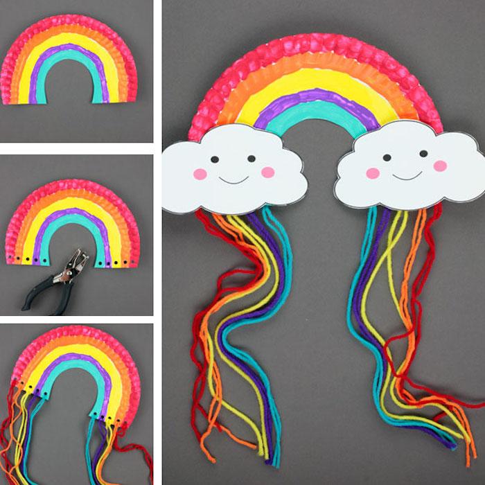 Regenbogen und zwei kleine Wolken aus Papier und Garn, Bastelidee mit Anleitung für Kinder