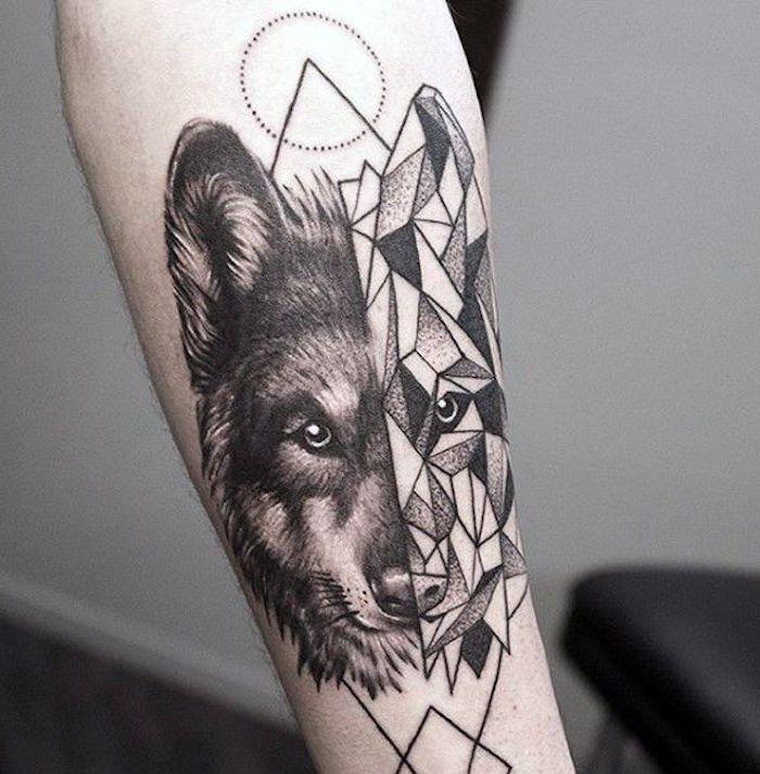 beliebteste tattoos, wolfkopf mit geometrischen figuren
