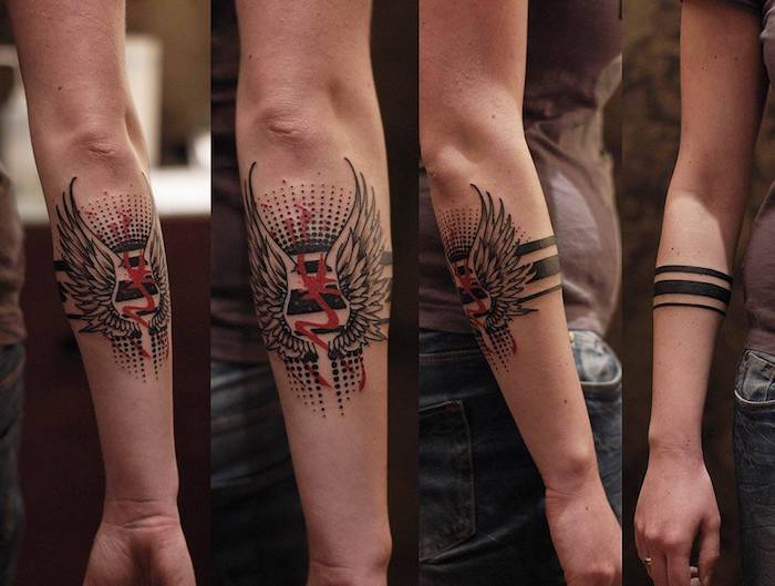 ein Tattoo, das verschieden von vorn und hinten aussieht Blackwork Tattoo