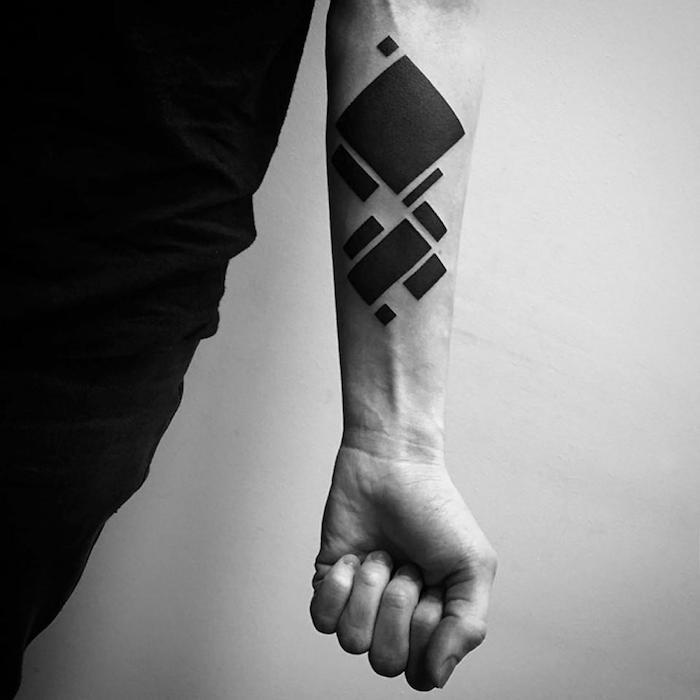 minimalistisches Tattoo, geometric Tattoo Rechtecken in verschiedenen Größen
