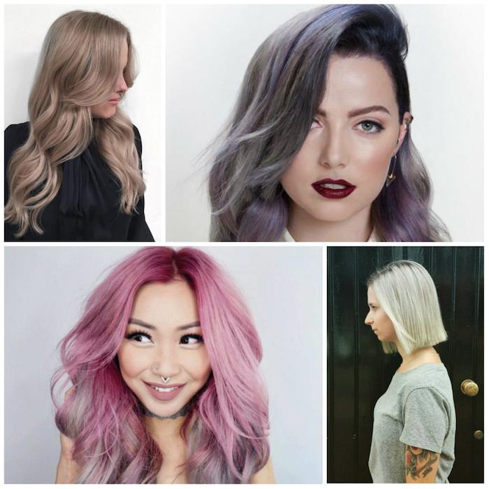 ombre braun ombre rosa blond und lila verschiedene farben sehen klasse aus bei jugendlichen