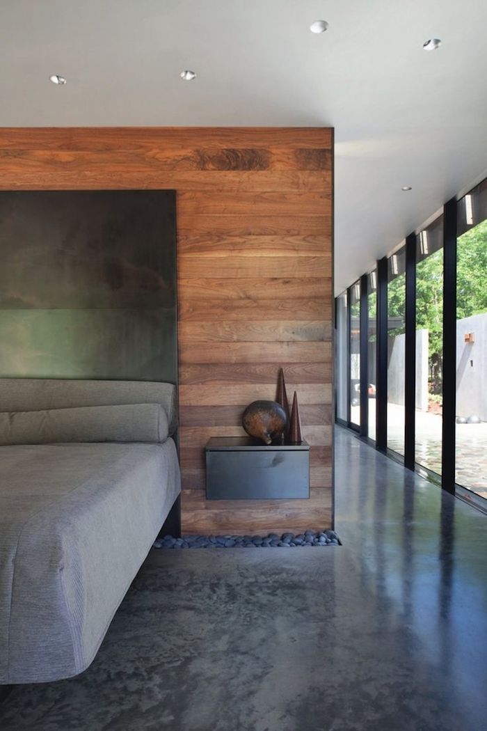 Designer Fußboden aus Marmor in grauer Farbe im Schlafzimmer, die Farben von Bett im Einklag