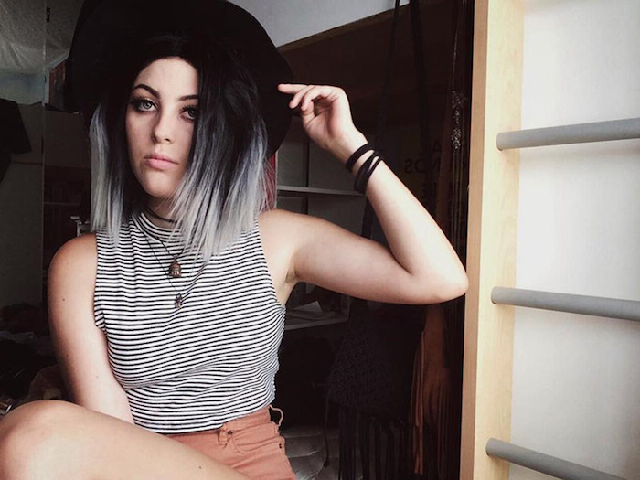 braune haare grau färben, bob-frisur im ombre look, schwarzer hut