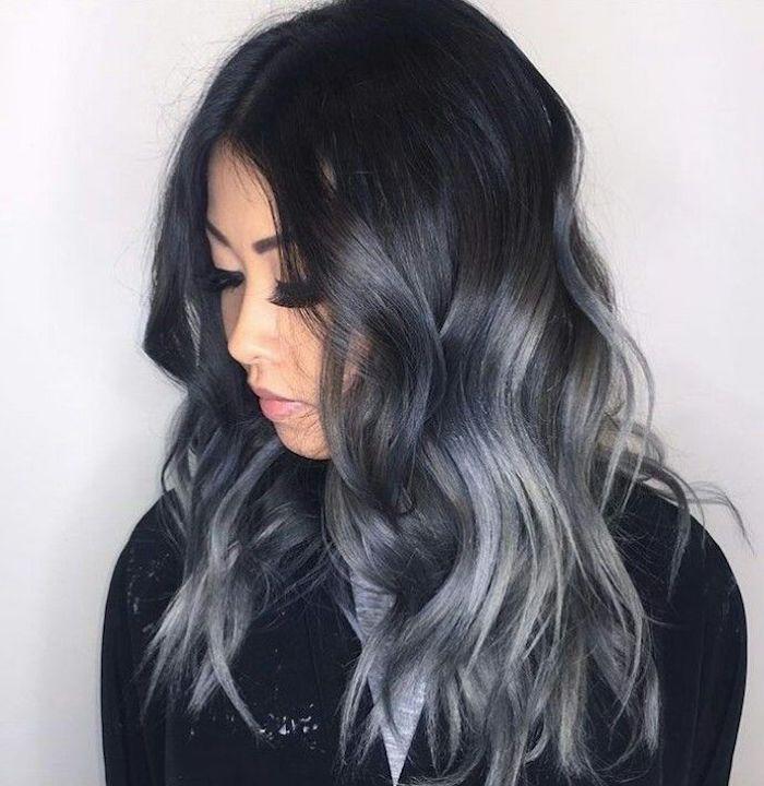 braune haare grau färben, mittellange frisur im ombre look