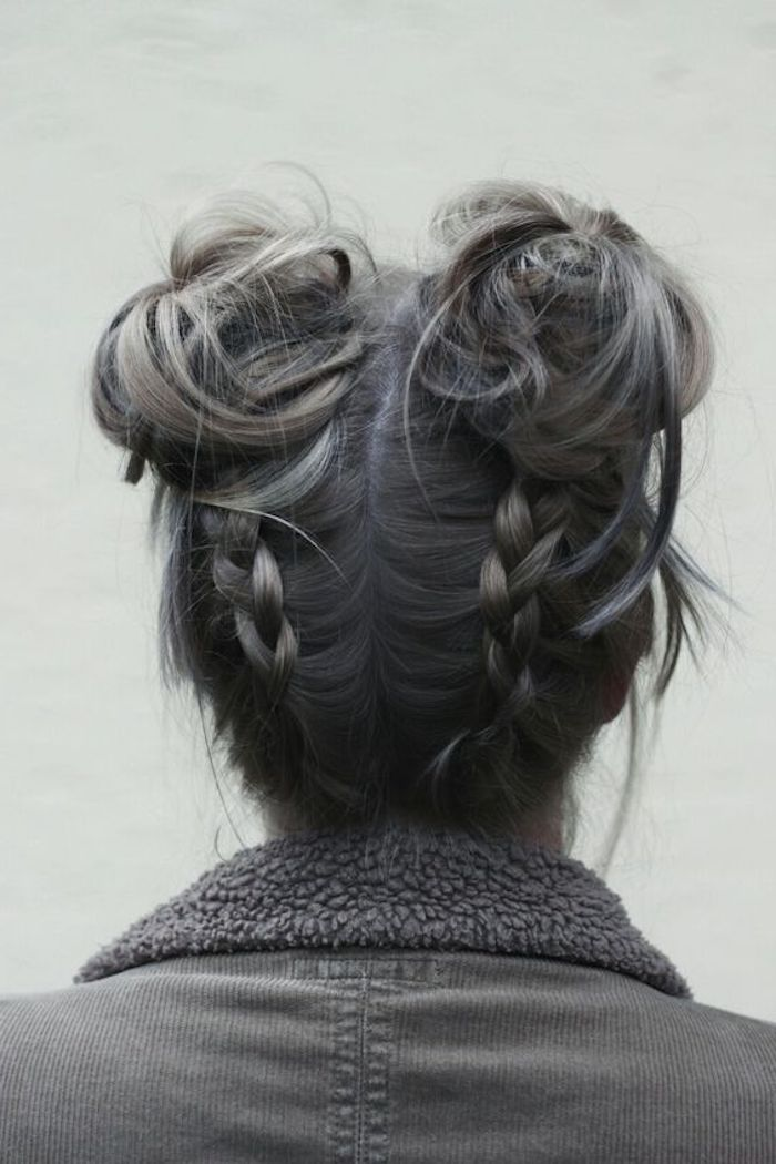 braune haare grau färben, dame mit flechtfrisur, dutt-frisur mit zöpfen
