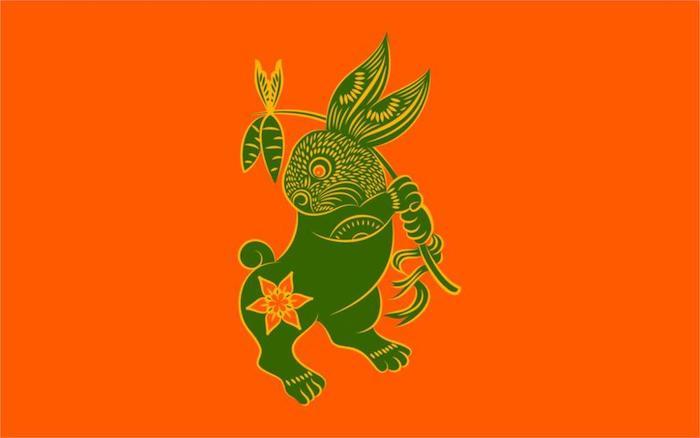 ein Hase, der in seinen Pfoten zwei Möhren hat, Karotten, orange Blume