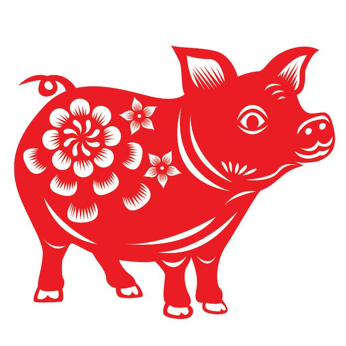 Sternzeichen Schwein, Blumen, runde Schwanz, großer Rüssel