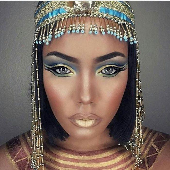 cleopatra make up für eine halloween party idee zum inspirieren schmuck schminke