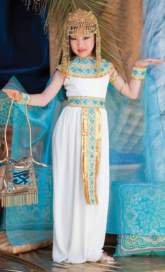 pharaonin kostüm für die kleine eine halloween party vorbereitung schöne kostüme