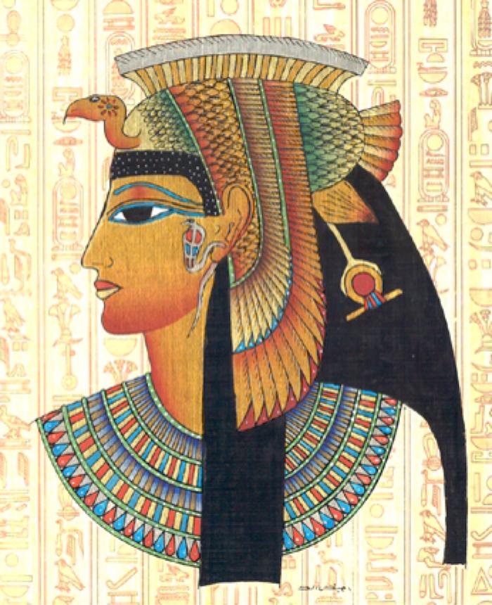 pharaonin bild auf einem papyrus die vorstellung die die alten ägypten von kleopatra haben