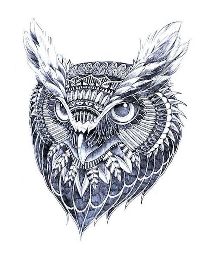 noch eine unserer ideen zum thema owl tattoo - hier ist ein schöner lila uhu mit weißen und lila federn