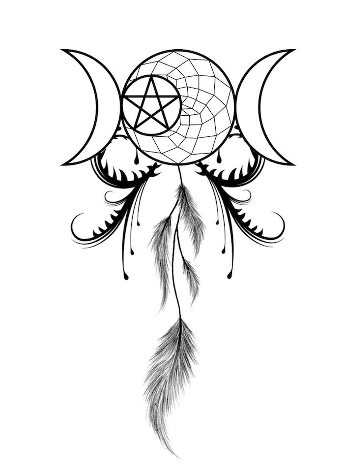 idee für einen tatoo mit mond, stern und inem schwarzen traumfänger mit langen federn
