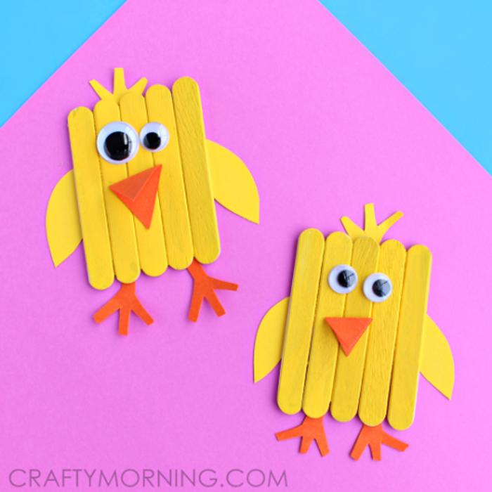 Hähnchen aus Holzstäbchen selber machen, Basteln mit Kindern, lustige und kreative Ideen zum Nachmachen