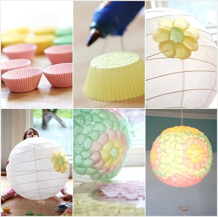 Lampenschirm aus bunten Papierförmchen für Muffins selber basteln, inspirierende DIY Ideen und Anleitungen