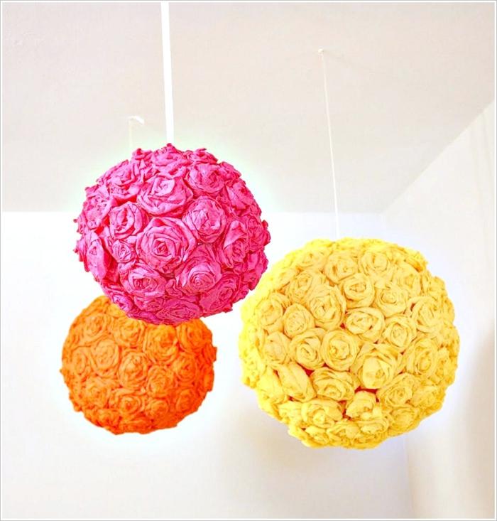 DIY Lampenschirm aus Papierblumen, grelle Farben für gute Stimmung, Schritt für Schritt Anleitungen