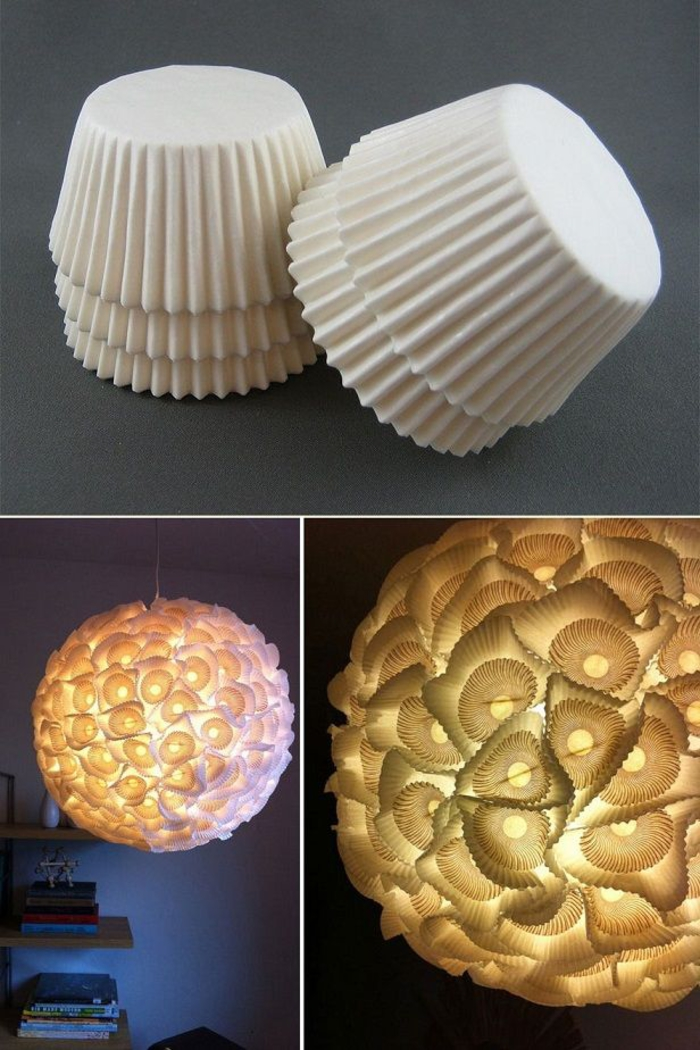 Lampenschirm aus Papierförmchen für Muffins selber basteln, kreative Ideen zum Nachmachen
