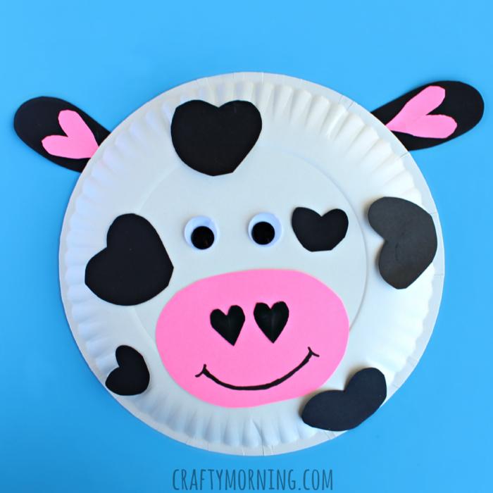 lustige und kreative DIY Ideen zum Nachmachen, Kuh aus Papierteller selber basteln