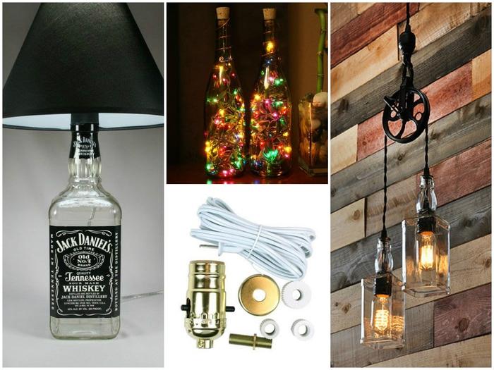 Lampen aus Glasflaschen basteln, coole DIY Projekte für kreative Menschen, Materialien und Anleitungen