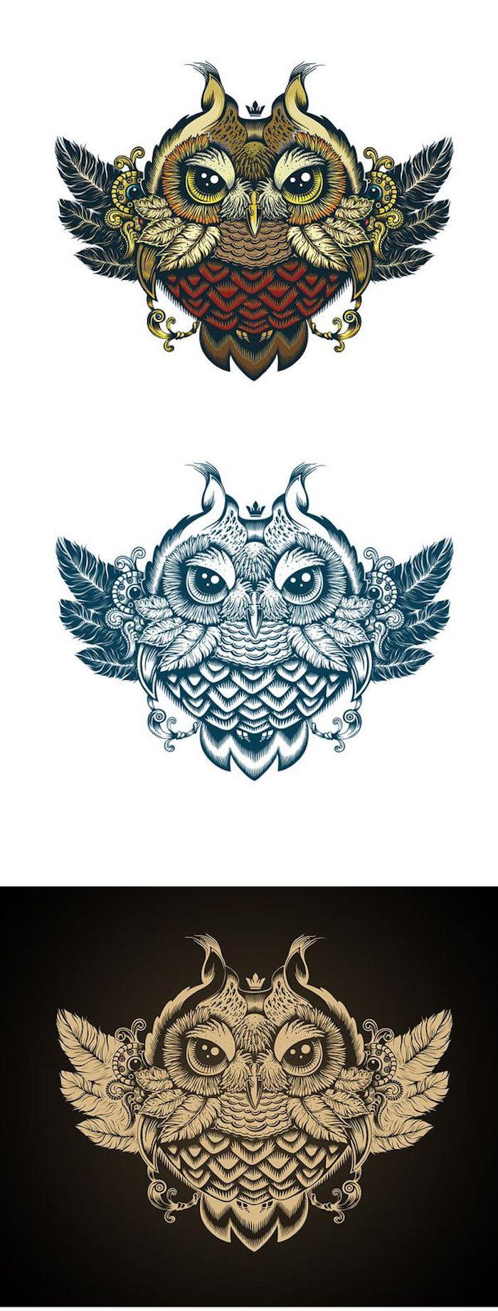 hier finden sie drei ganz tolle ideen für owl tattoos - eine kleine gelbe, blaue und bunte eule