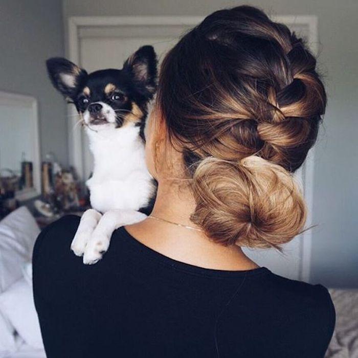 ombre mittellanges haar die hunde als tolle accessoires schönes kleines freundchen