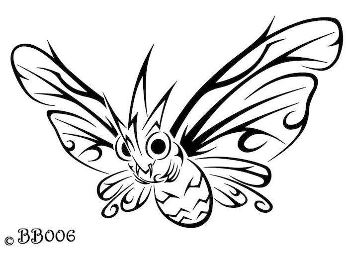 ein kleiner süßer schwarzer fliegender schmetterling mit großen augen und flügeln - eine unserer ideen für einen schmetterling tattoo