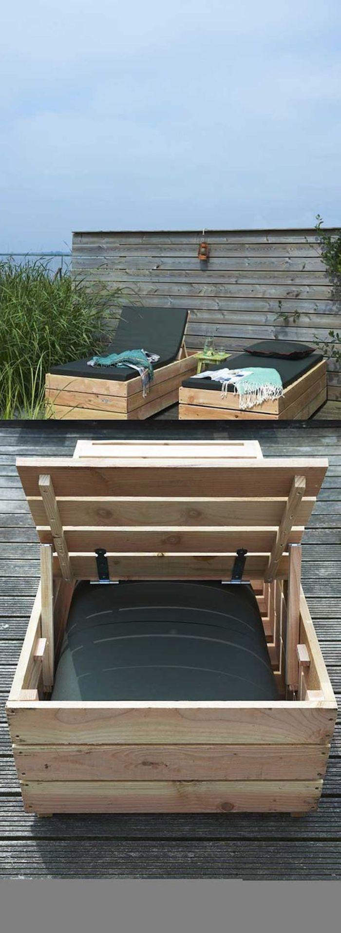 hier finden sie tolle ideen für palettenmäbel terrasse - drei schöne liegestühle aus europaletten für den auüenbereich