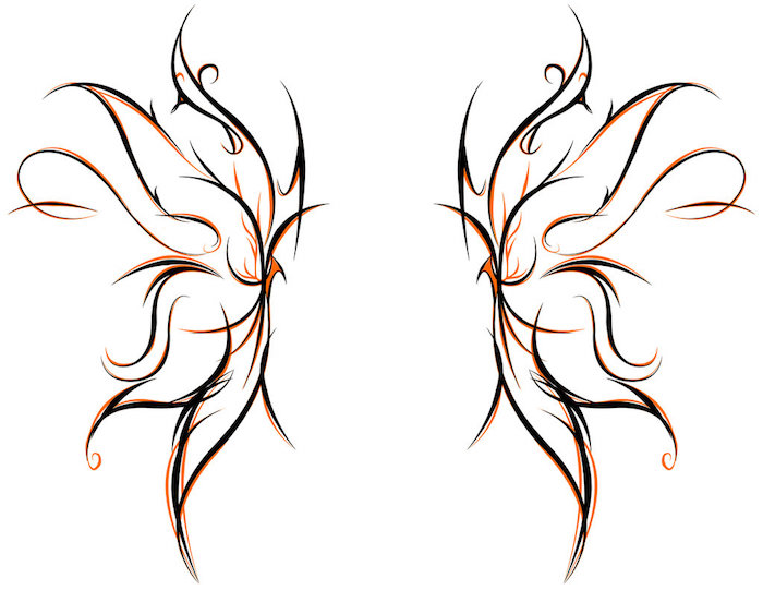hier finden sie eine der besten ideen zum thema butterfly tattoo - zwei märchenhafte, tolle, orange und schwarze flügel eines schmetterlings