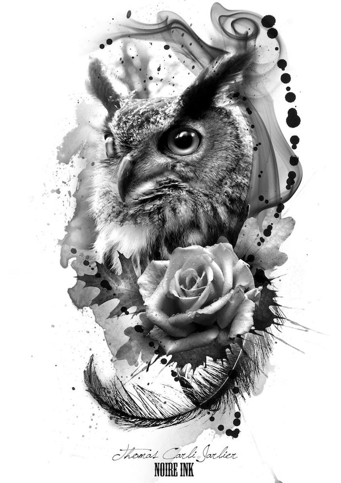 hier finden sie eine idee für einen owl tattoo - ein großer schwarzer uhu mit schwarzen federn und augen und eine große schwarze rose