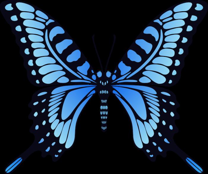 ein blauer und wirklich sehr schön aussehender, märchenhafter schmetterling mit großen, langen flügeln und blauen augen - idee für einen tattoo schmetterling