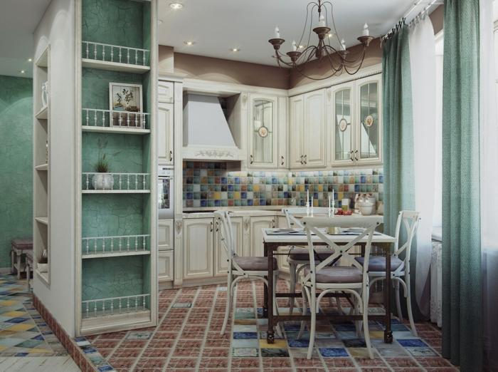 vintage küche farbig gestalten mit kleinen mozaik fliesen