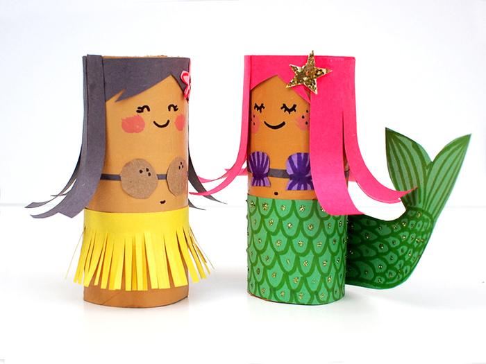 schöne Meerjungfrauen aus Rollen basteln, kräftige und fröhliche Farben für gute Stimmung