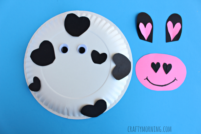 Kuh aus Papierteller selber machen, Materialien: Papier, Schere, Klebstoff, Teller