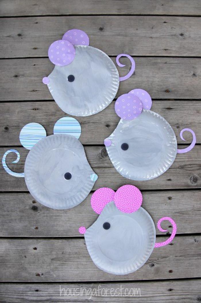 Mäuse aus Papiertellern selber machen, lustige Tätigkeiten für Kinder, mit Kindern basteln