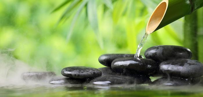 feng shui farben, schwarze steine, bmbus, grüne pflanzen, wasser, zen