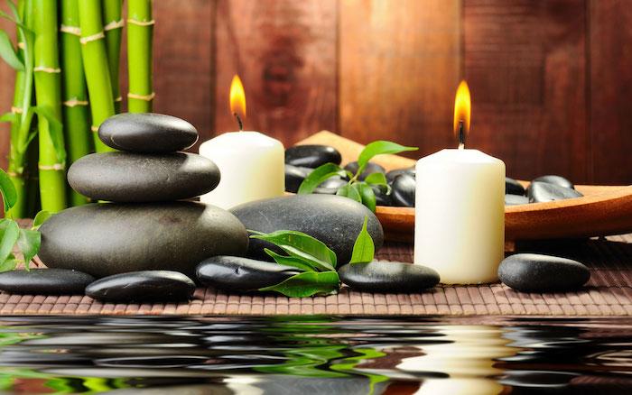 feng shui bilder, weiße kerzen, schwarze steine, bambus, wasser