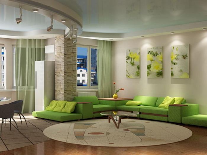 feng shui, wanddeko, wohnzimmer, grünes sofa, kaffeetisch, ruder teppich