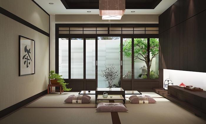 japanisches interieur, minimalistisches desig, kissen, eckiger kaffeetisch, pflanzen, zen