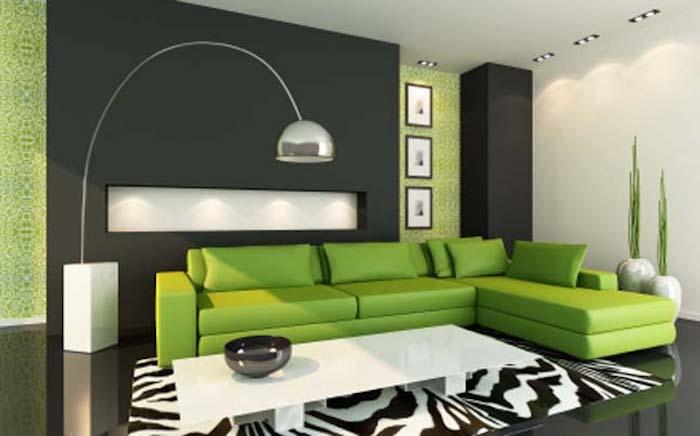 feng shui, grünes sofa, lampe, schwarze wand, weißes kaffeetisch