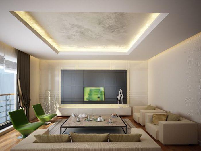 feng shui wohnen, wohnzimmer in naurfarben, grüne sessel, hellbrunes sofa