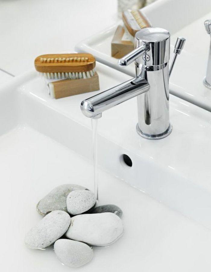 feng shui, badezimmer, waschbecken, spiegel, steine, wasser