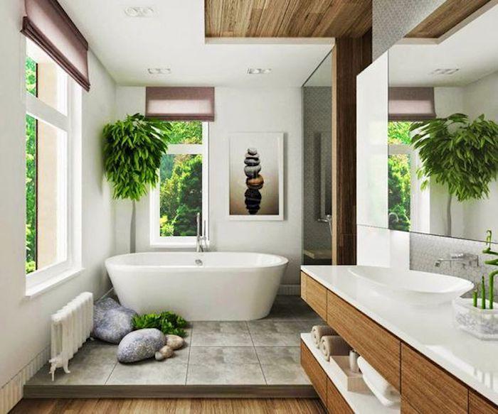 Feng Shui, Badezimmer, Grüne Pflanzen, Ovale, Freistehende Badewanne, Bild