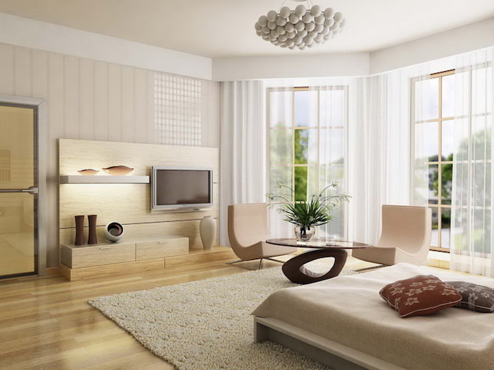 feng shui, schlafzimmer in hellbraun und beige, fernsehen, fenster, gardinen, teppich