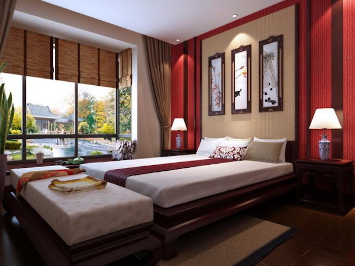 feng shui, schlafzimmer in rot, weiß und braun, bett, bilder, wanddeko
