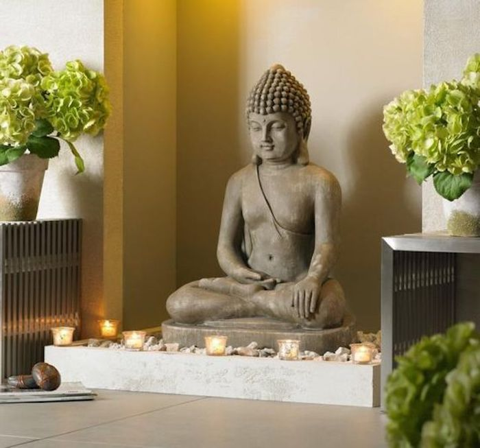 feng shui, statue, buddha, kerzen, pflanzen, steinchen