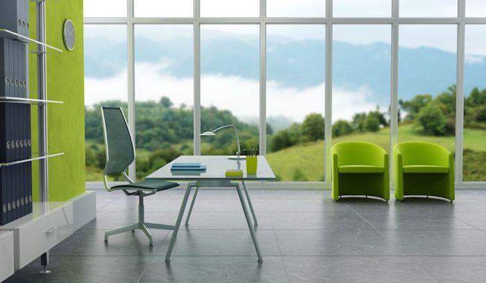 office, büro, bürostuhl, tisch aus glas, grüne sessel, große fenster