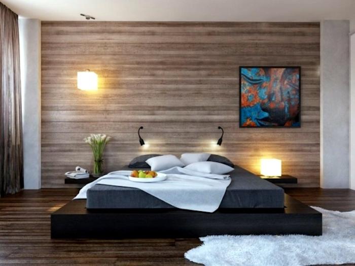 feng shui farben, schlafzimmer in braun, bett, teppich, bild, wanddeko, lampen