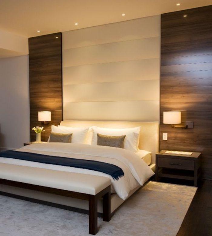 schlafzimmer in braun und weiß, teppich, bett, lampen