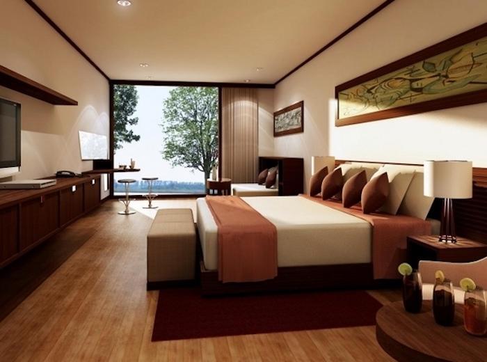 schlafzimmer in naturfarben, großes bett, wanddeko, bilder