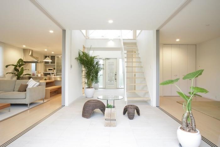wohnzimmer, zen dekorationen, pflanzen, kleiner tisch, hocker
